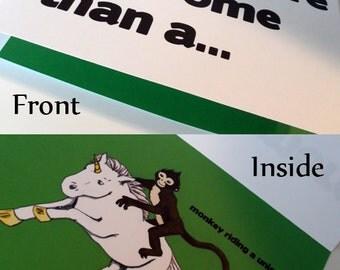 Awesome Monkey Riding a Unicorn 5x7 Card