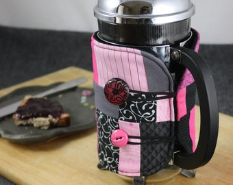 French Press Coffee Cozy in Black, Pink and Gray by Nstarstudio