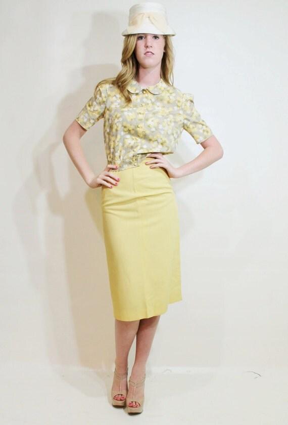 40s blouse pencil skirt set suit garden pale yellow
