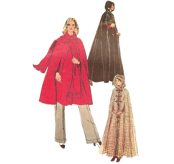 1970s Womens Cape and Scarf - Simplicity 5252 Vintage Sewing Pattern - 34 36 Bust