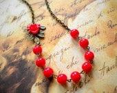 Red Necklace Leaf Necklace Red Bib Necklace Red Flower Necklace Feminine Jewelry Romantic Necklace Woodland Wedding Jewelry Red Jewelry