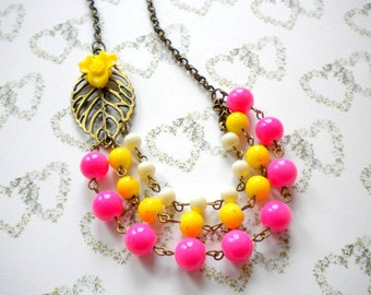 Flower Necklace Yellow Necklace Colorful Necklace Yellow Wedding Jewelry Hot Pink Necklace Summer Statement Necklace Yellow Flower Necklace