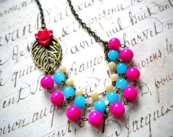 Flower Necklace Fuschia Necklace Leaf Necklace Flower Statement Necklace Colorful Necklace Hot Pink Necklace Colorful Jewelry Bib Necklace