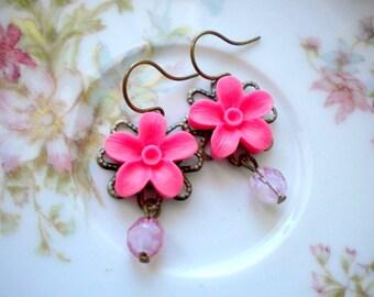 Hot Pink Earrings Dangle Flower Earrings Flower Pink Earrings Flower Dangle Earrings Flower Jewelry Pink Jewelry Pink Floral Earrings