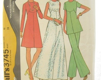 McCalls 3745 Mod Dress Tunic and Pants Vintage Sewing Pattern Bust 38