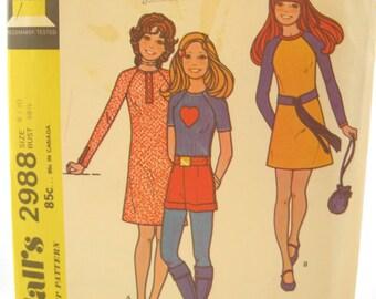 1970s McCalls 2988 Raglan Shirt Tunic and Mini Dress Vintage Sewing Pattern Bust 30
