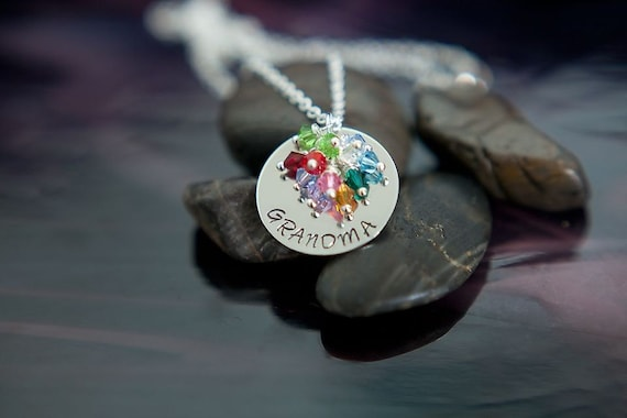 RESERVED for vondiedj - RACE SALE - Handstamped Grandma Necklace - Personalized Name with Birthstones