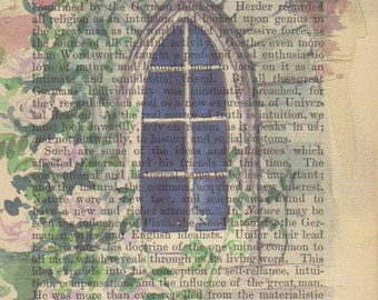 Watercolor Window Print on Antique Page, Signed Print & Free Shipping in US