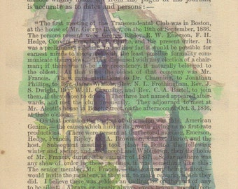 Watercolor Abbey Print on Antique Page, Signed Print & Free Shipping in US