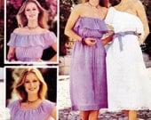 70s One shoulder dress Pattern Butterick 5455 Peasant Dress Vintage Sewing Vintage SMALL or MEDIUM