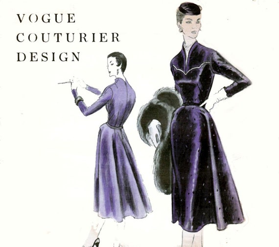 50s Vintage Vogue Couturier Design 821 Dress Pattern Size 12 Bust 30