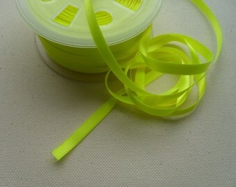 5 Yards- Neon Yellow Double Face Satin Ribbon- 6mm - 1/4""