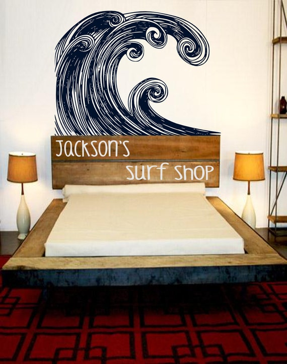 Items Similar To Headboard Surf Art Hang Ten Decor