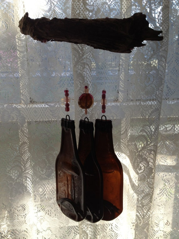 Melted Recycled Brown Beer Bottle Windchime Wind Chime