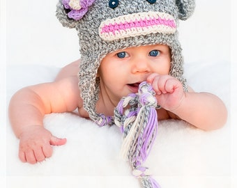 PDF Pattern Monkey Sock hat with detachable flowers, pom pom and braids Boy and Girl Sizes Preemie TO 4 Years No. 10