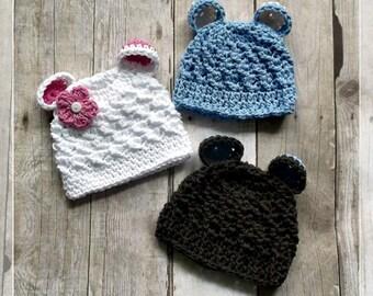 Crochet BEAR EARS Beanie Hat PDF Pattern Sizes Newborn to Adult Boutique Design - No. 55 by AngelsChest