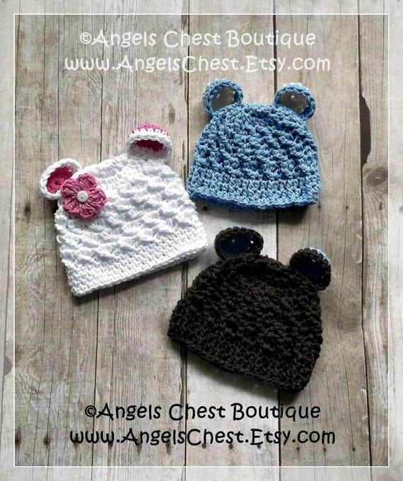 Crochet BEAR EARS Beanie Hat PDF Pattern Sizes Newborn to