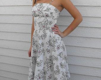 50s White Print Dress 1950s Bombshell Summer Sun XS Nardis
