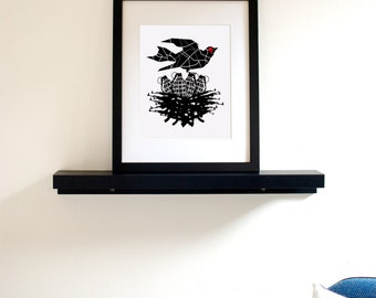 Armed to the Beak 8x10 Art Print - Bad-ass Bird with Nest of Grenades & Guns (Free Shipping in US)