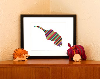 Rainbow Striped Cat Art Print on 100% Recycled Paper (Free Shipping in US)