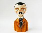 RESERVED FOR CECILE Victorian moustache gentleman bust - Art figurine - Paper clay sculpture - One of a kind - handsculpted
