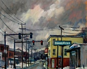 Goodyear, North Adams Massachusetts. 20x16 Oil on Canvas, Plein Air Impressionist Winter Landscape Fine Art, Signed Original Oil Painting