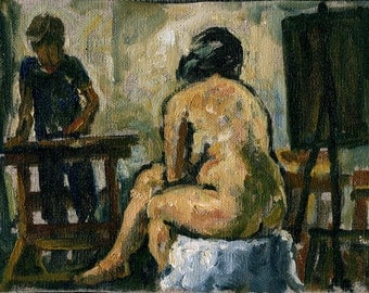 Artist and Model, Drawing Studio at Night. Original Oil Painting on Canvas, 6x9 American Realist Figure Painting, Signed Original Fine Art
