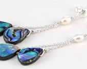 Abalone Paua Earrings with Freshwater Pearls and Sterling Silver