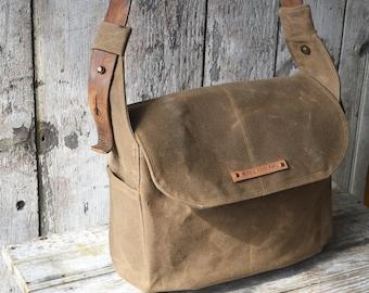 The Finch in Truffle, Waxed Canvas Crossbody Bag, Waxed Canvas Messenger Bag, Crossbody Bag, Laptop Bag, Purse, Handbag, Tote, Leather