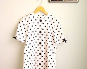 cotton summer dress POLKA DOTS and BOWS bombshell cute tea dress in navy blue and white size m- l