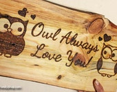 Owl Plaque, Cute Rustic Personalized Wall Gift Art