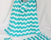 Deluxe Baby Gift Set - Aqua Chevron Nursing Cover, Burp Cloth and Changing Pad