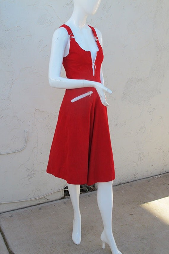 Super Cute 70's Red CORDUROY Zip Up Sleeveless Tank CULOTTES Jumpsuit XS Small