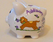 Personalized Piggy Bank Dogs and Puppies with Lavender Flowers