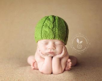 Newborn photo prop, newborn hat, newborn boy, newborn girl, knit newborn hat, newborn props, Green cable beanie.Choose your own color