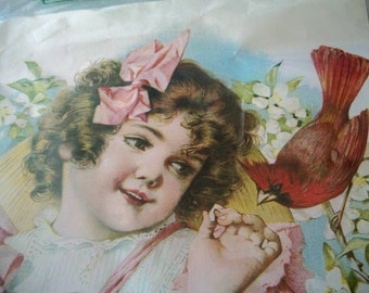 Young Girl in Pink with Cardinal and Blossoms Lithograph by Hazel Pearson Handicrafts