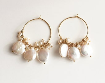 Boho Wedding Earrings, Coin Pearl Earrings, Wedding Earrings, Pearl Earrings