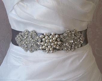 Gray Rhinestone and Pearl Sash, Pewter Grey Bridal Sash, Dark Gray Wedding Belt, Custom Colors - FRANCESCA