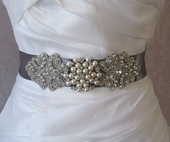 Items Similar To Gray Rhinestone And Pearl Sash Pewter