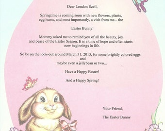 Personalized Childrens EASTER  Letter From The Easter Bunny  Ships Free in 24 hours  also available in Italian