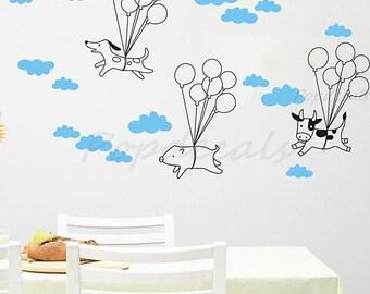 Flying animals - kids Room Decors - Vinyl Wall Decals for Playroom Nursery Room
