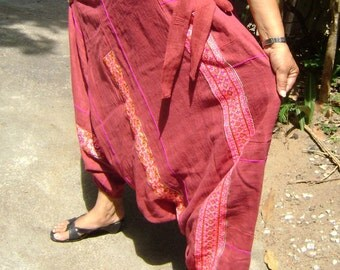 100 percent hand loom hemp Harem pants in vibraint colour red wine
