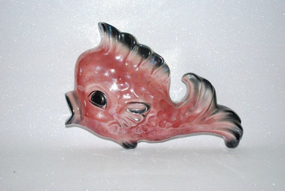 RESERVED FOR CINDY  Vintage 1950's Ceramicraft Tropic Treasures Pink and Black Wall Pocket Fish - Wall Hanging Planter