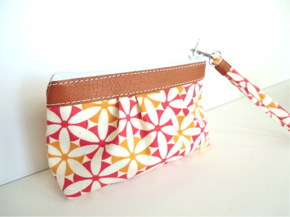 Pleated Zipper Wristlet purse, Clutch with removable strap- READY TO SHIP