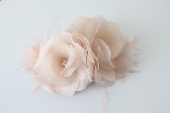 Blush Pink Hair Flower Or Brooch Bridal Wedding: Double Blush Pink Hair FlowersStyle 328 By LaBlancFleur On