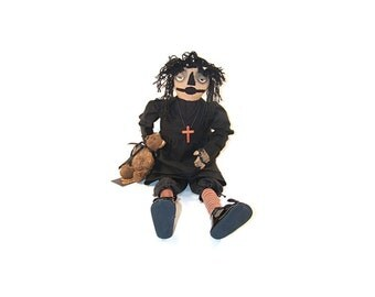 Primitive Raggedy Ann, Doll, Primitive, Halloween, Raggedy Anne, Gothic, Primitive Doll, Black, Goth, Creepy, Red and White, Ticking Fabric