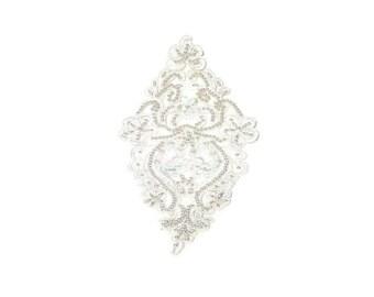 Beaded Applique, White Applique, White, Cream, Centerpiece, Beaded, Applique, Bridal Neck Trim, Wedding