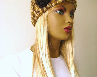 Fall Fashion - Brown Hat, Beanie - Autumn Color of Brown Cable Beret with Flower - Gift for Her - Ready for Shipping
