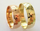 Hammered wedding bands set women's men's wedding rings hammered 6mm polished shiny yellow and rose gold