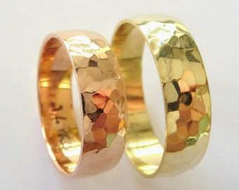 Wedding band set his and his wedding rings hammered 6mm polished shiny yellow and rose gold
